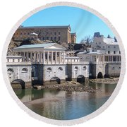 Philadelphia Waterworks And Art Museum Panorama Round Beach Towel