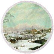 Philadelphia Winter Landscape Ca. 1830 - 1845 By Thomas Birch Round Beach Towel