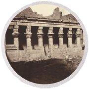 Philae, Cour Int?rieure, Colonnade De L'ouest Round Beach Towel