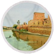 Philae On The Nile Round Beach Towel by Alexander West