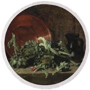 Philippe Rousseau Still Life With Artichokes, 1868 Round Beach Towel