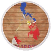 Philippines Rustic Map On Wood Round Beach Towel