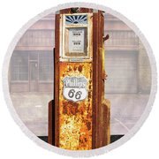 Phillips 66 Antique Gas Pump Round Beach Towel