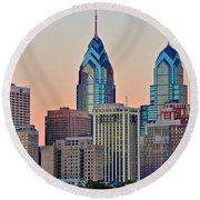 Philly At Sunset Round Beach Towel