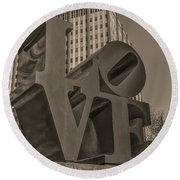 Philly Esque  - Love Statue In Sepia Round Beach Towel