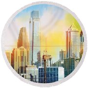 Philly From Drexel Hill Round Beach Towel