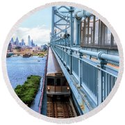 Philly From The Bridge Round Beach Towel