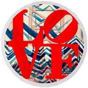 Philly Love V17 Round Beach Towel