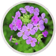 Phlox For You Round Beach Towel