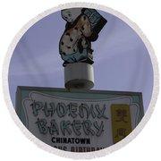 Phoenix Bakery Sign Chinatown Round Beach Towel