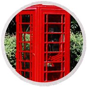 Phone Booth Round Beach Towel