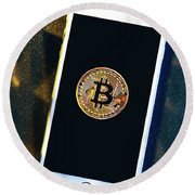 Phone With A Bitcoin Laying On Top Of It. Round Beach Towel
