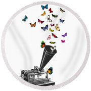 Phonograph And Butterflies Print Round Beach Towel
