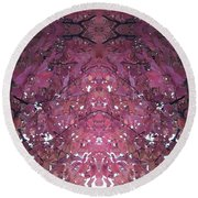 Photo 0800 Autumn Tree Leaves Fractal  E1 Mid Top  Round Beach Towel