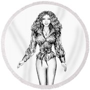 Photo Model Sofia Goldberg Round Beach Towel