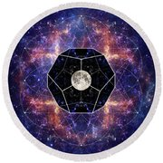 Photo Of The Moon And Sacred Geometry Round Beach Towel