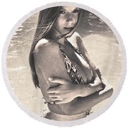 Photograph Vintage Summer Look With Woman In Bikini #8624m Round Beach Towel