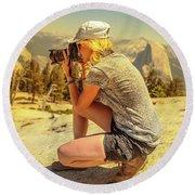Photographer On Sentinel Dome Round Beach Towel