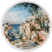 Phryne At The Festival Of Poseidon In Eleusin Round Beach Towel