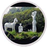 Phu My Statues 1 Round Beach Towel