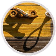 Pi Theta Shadows - Dock Cleat And Rope Round Beach Towel