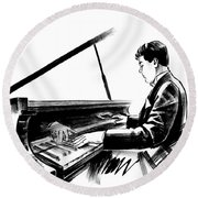Pianist Round Beach Towel