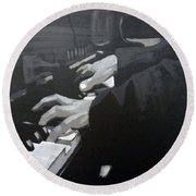Piano Hands Round Beach Towel