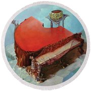 Piano In Red Round Beach Towel