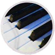 Piano Keys . V2 . Blue Round Beach Towel