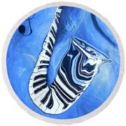 Piano Keys In A Saxophone Blue - Music In Motion Round Beach Towel