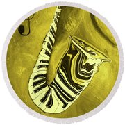 Piano Keys In A  Saxophone Golden - Music In Motion Round Beach Towel