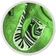 Piano Keys In A  Saxophone Green Music In Motion Round Beach Towel