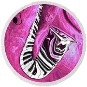 Piano Keys In A Saxophone Hot Pink - Music In Motion Round Beach Towel