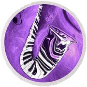 Piano Keys In A Saxophone Purple - Music In Motion Round Beach Towel