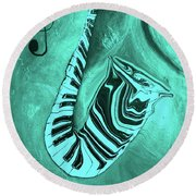 Piano Keys In A  Saxophone Teal Music In Motion Round Beach Towel