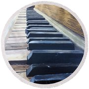 Piano Perspective Round Beach Towel