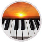 Piano Sunset Round Beach Towel