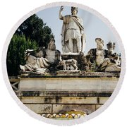 Piazza Del Popolo Fountain Round Beach Towel