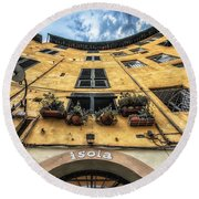 Piazza Dell'anfiteatro, Lucca, Italy Round Beach Towel