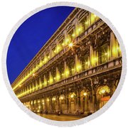 Piazza San Marco By Night Round Beach Towel