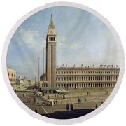 Piazza San Marco Venice  Round Beach Towel by Canaletto