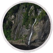 Little Falls Of Montmorency Round Beach Towel