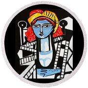 Picasso By Nora  Film Star Round Beach Towel