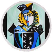 Picasso By Nora  The Queen Round Beach Towel