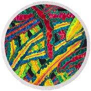 Picasso Paintbrush Croton Round Beach Towel
