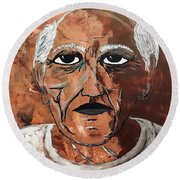 Picasso The Bull In Winter Round Beach Towel