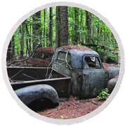 Pick Up Truck In The Woods Round Beach Towel