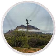 Picket Post Windmill Round Beach Towel