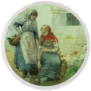 Picking Flowers Round Beach Towel by Winslow Homer
