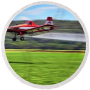 Picking It Up And Putting It Down - Crop Duster - Arkansas Razorbacks Round Beach Towel